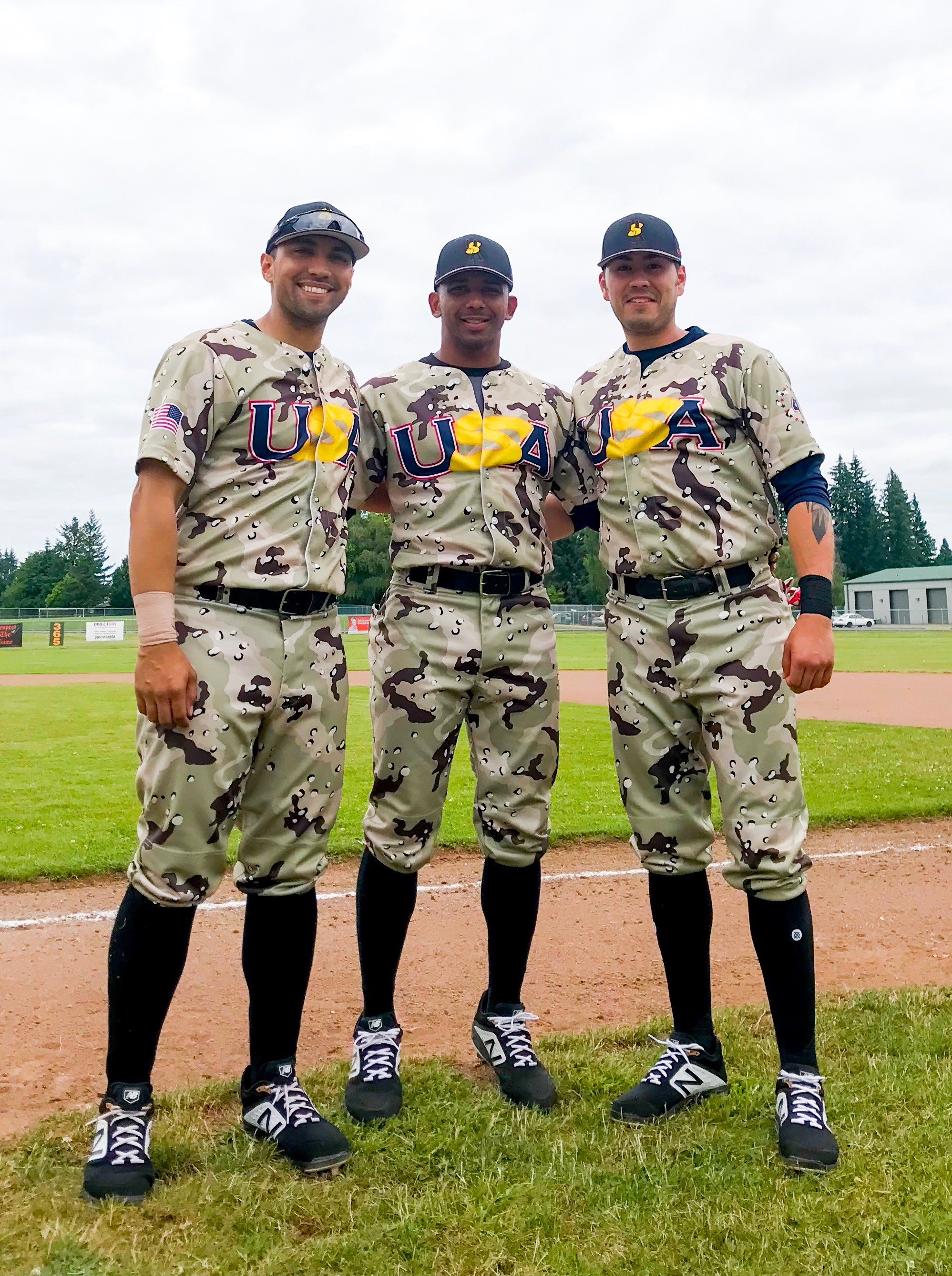3 new players showing off our new uniforms